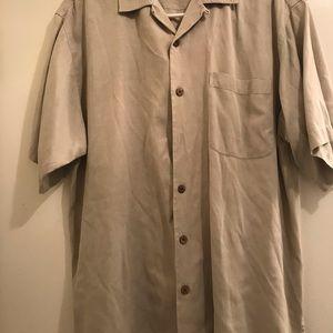 Tommy Bahama Mens Beige XL Short Sleeve Shirt